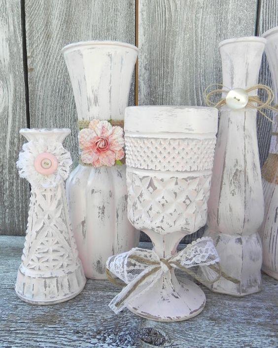 вазочки в стиле шебби шик